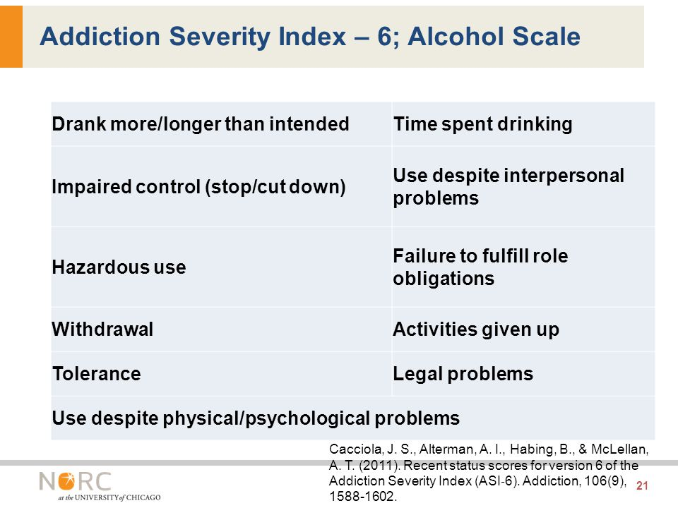 Drank more/longer than intendedTime spent drinking Impaired control (stop/cut down) Use despite interpersonal problems Hazardous use Failure to fulfill role obligations WithdrawalActivities given up ToleranceLegal problems Use despite physical/psychological problems 21 Addiction Severity Index – 6; Alcohol Scale Cacciola, J.