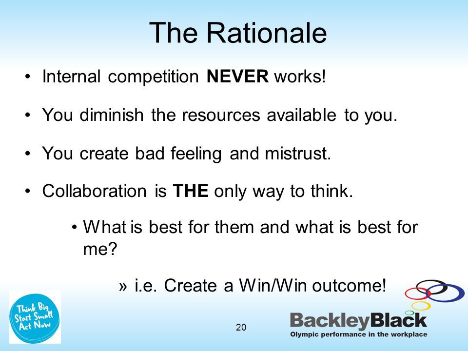 The Rationale Internal competition NEVER works.You diminish the resources available to you.