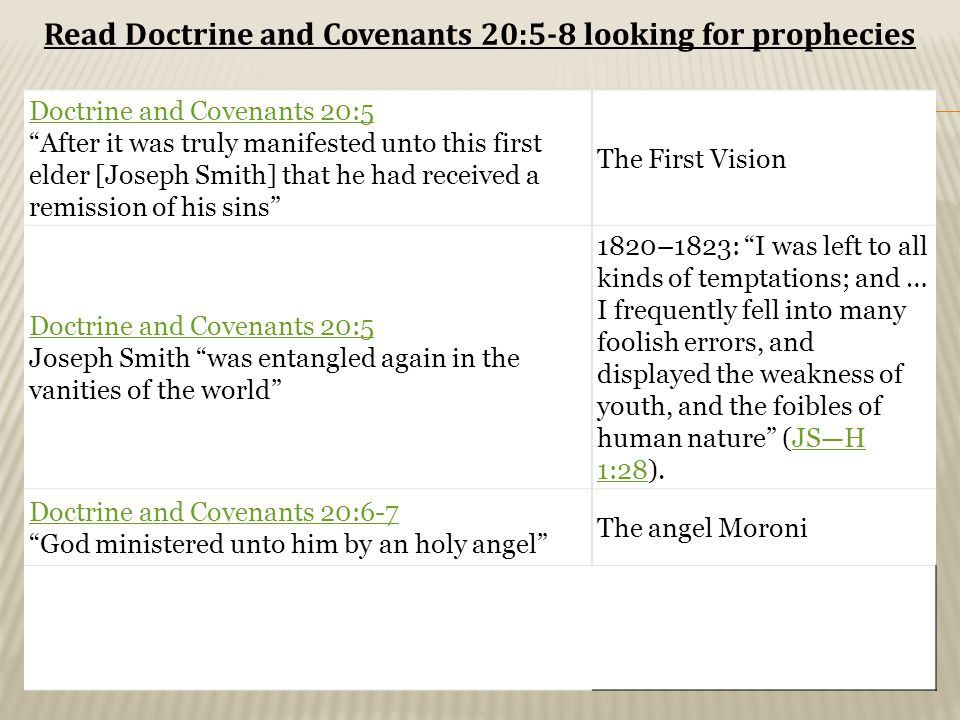 Doctrine and Covenants 20:5 After it was truly manifested unto this first elder [Joseph Smith] that he had received a remission of his sins The First Vision Doctrine and Covenants 20:5 Joseph Smith was entangled again in the vanities of the world 1820–1823: I was left to all kinds of temptations; and … I frequently fell into many foolish errors, and displayed the weakness of youth, and the foibles of human nature (JS—H 1:28).JS—H 1:28 Doctrine and Covenants 20:6-7 God ministered unto him by an holy angel The angel Moroni Read Doctrine and Covenants 20:5-8 looking for prophecies