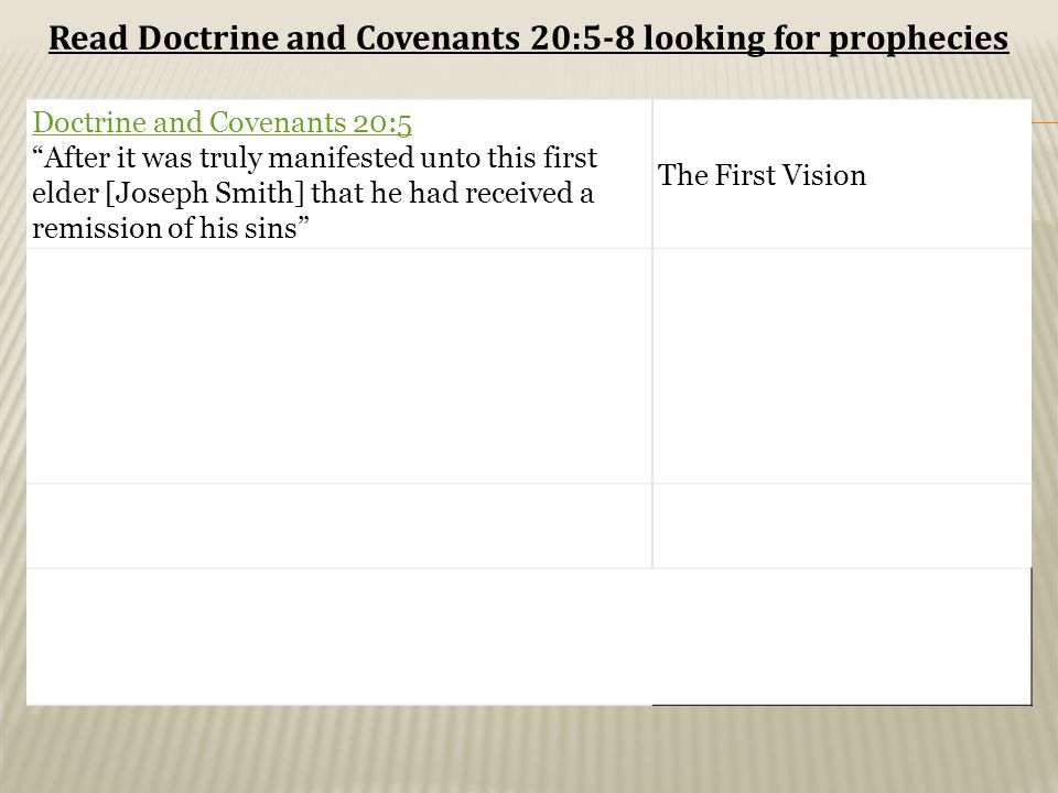 Doctrine and Covenants 20:5 After it was truly manifested unto this first elder [Joseph Smith] that he had received a remission of his sins The First Vision Read Doctrine and Covenants 20:5-8 looking for prophecies