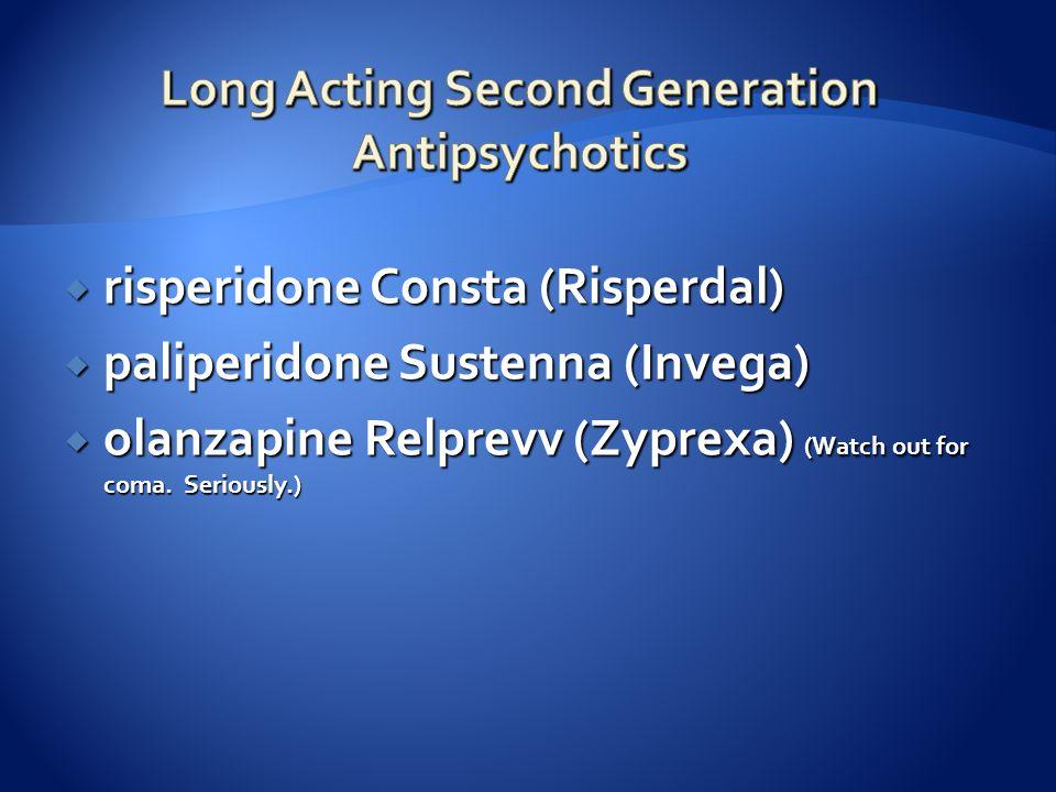  risperidone Consta (Risperdal)  paliperidone Sustenna (Invega)  olanzapine Relprevv (Zyprexa) (Watch out for coma. Seriously.)