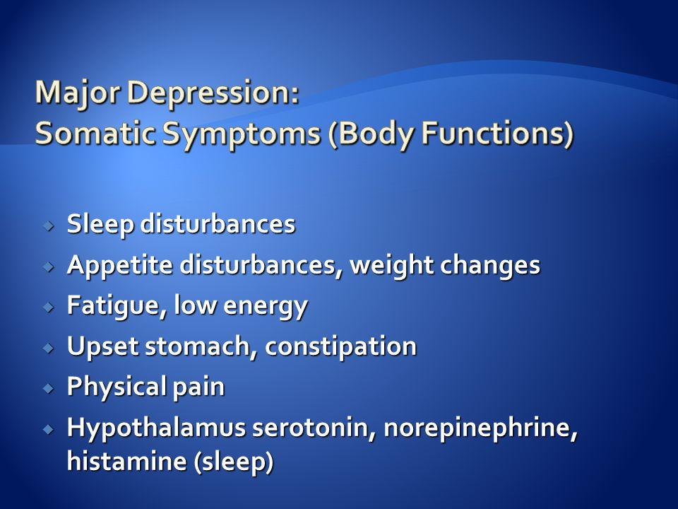  Sleep disturbances  Appetite disturbances, weight changes  Fatigue, low energy  Upset stomach, constipation  Physical pain  Hypothalamus serotonin, norepinephrine, histamine (sleep)