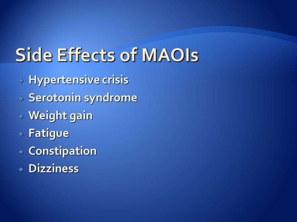  Hypertensive crisis  Serotonin syndrome  Weight gain  Fatigue  Constipation  Dizziness