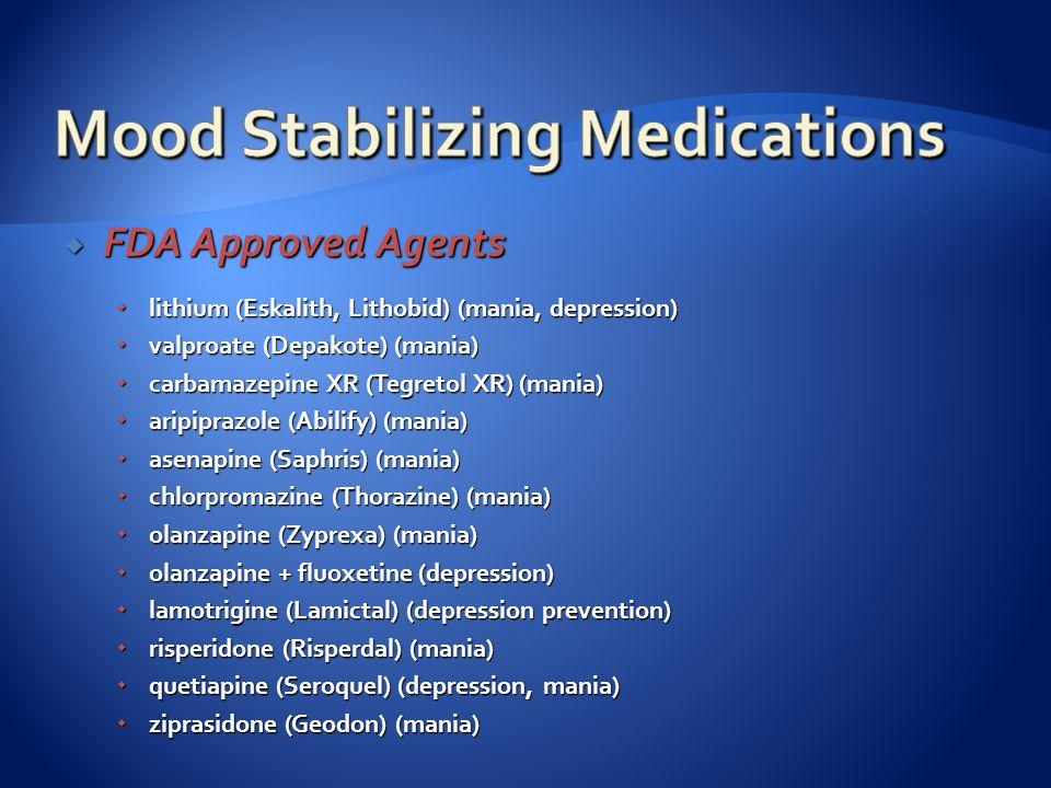  FDA Approved Agents  lithium (Eskalith, Lithobid) (mania, depression)  valproate (Depakote) (mania)  carbamazepine XR (Tegretol XR) (mania)  aripiprazole (Abilify) (mania)  asenapine (Saphris) (mania)  chlorpromazine (Thorazine) (mania)  olanzapine (Zyprexa) (mania)  olanzapine + fluoxetine (depression)  lamotrigine (Lamictal) (depression prevention)  risperidone (Risperdal) (mania)  quetiapine (Seroquel) (depression, mania)  ziprasidone (Geodon) (mania)