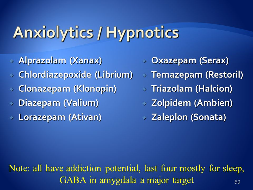  Alprazolam (Xanax)  Chlordiazepoxide (Librium)  Clonazepam (Klonopin)  Diazepam (Valium)  Lorazepam (Ativan)  Oxazepam (Serax)  Temazepam (Restoril)  Triazolam (Halcion)  Zolpidem (Ambien)  Zaleplon (Sonata) 50 Note: all have addiction potential, last four mostly for sleep, GABA in amygdala a major target