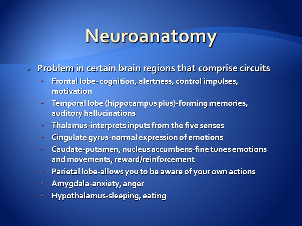  Problem in certain brain regions that comprise circuits  Frontal lobe- cognition, alertness, control impulses, motivation  Temporal lobe (hippocampus plus)-forming memories, auditory hallucinations  Thalamus-interprets inputs from the five senses  Cingulate gyrus-normal expression of emotions  Caudate-putamen, nucleus accumbens-fine tunes emotions and movements, reward/reinforcement  Parietal lobe-allows you to be aware of your own actions  Amygdala-anxiety, anger  Hypothalamus-sleeping, eating