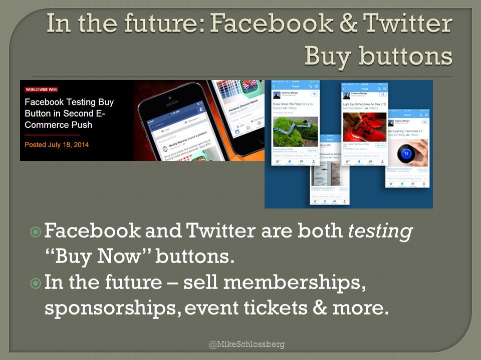  Facebook and Twitter are both testing Buy Now buttons.