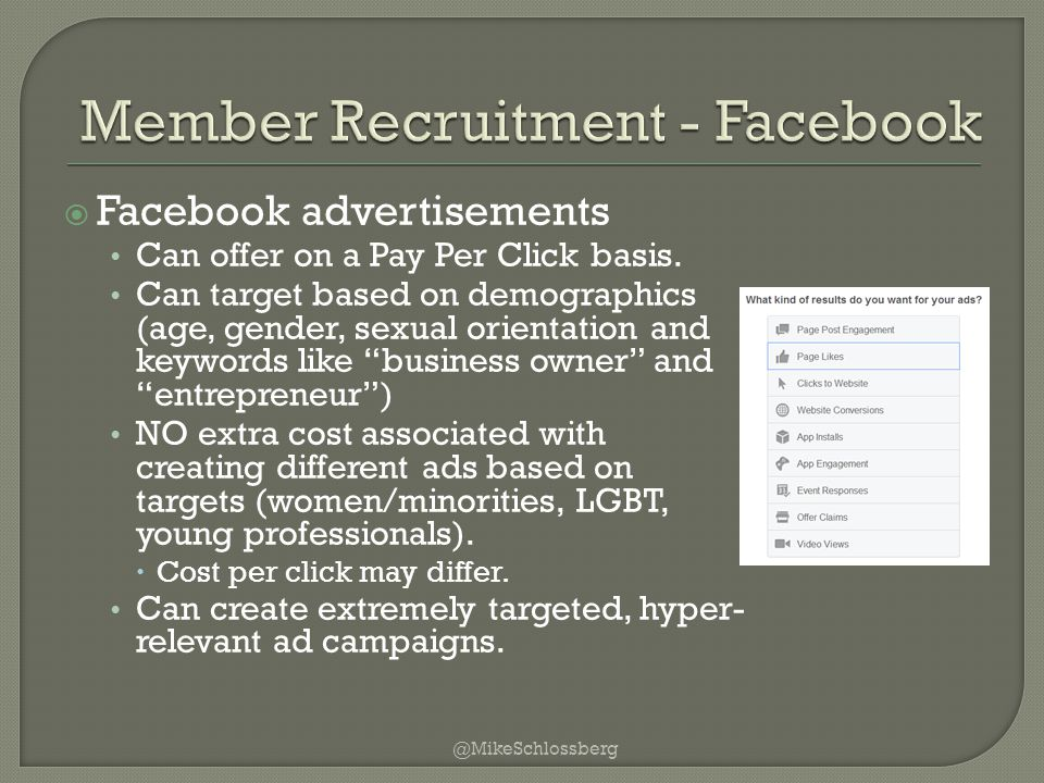  Facebook advertisements Can offer on a Pay Per Click basis.