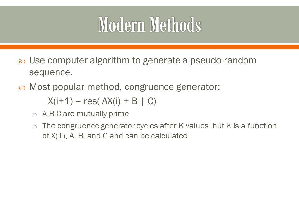  Use computer algorithm to generate a pseudo-random sequence.