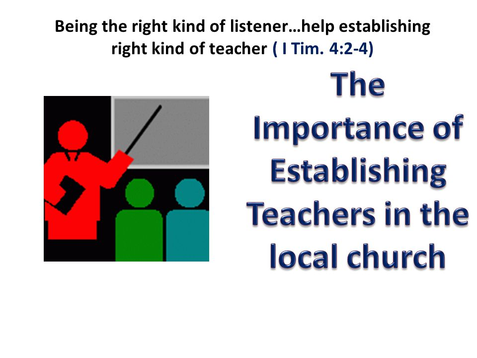 Being the right kind of listener…help establishing right kind of teacher ( I Tim. 4:2-4)