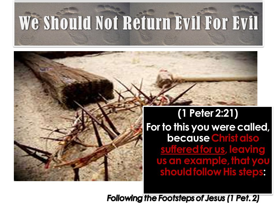 (1 Peter 2:21) For to this you were called, because Christ also suffered for us, leaving us an example, that you should follow His steps: (1 Peter 2:21) For to this you were called, because Christ also suffered for us, leaving us an example, that you should follow His steps: