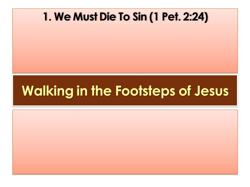 Walking in the Footsteps of Jesus 1. We Must Die To Sin (1 Pet.