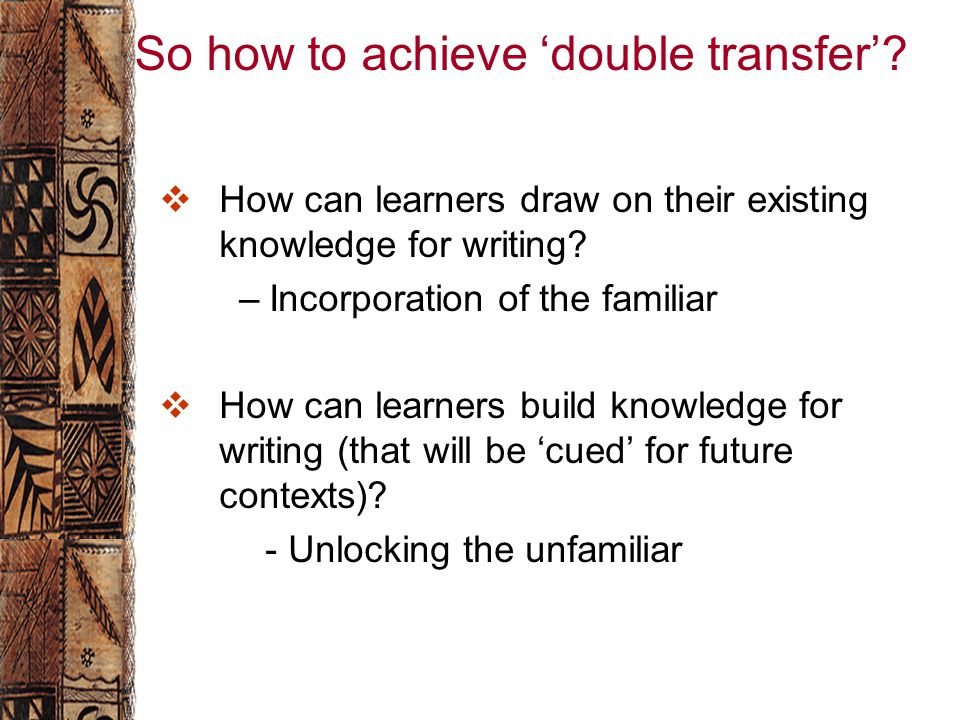 So how to achieve 'double transfer'.