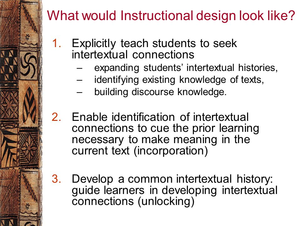 What would Instructional design look like.