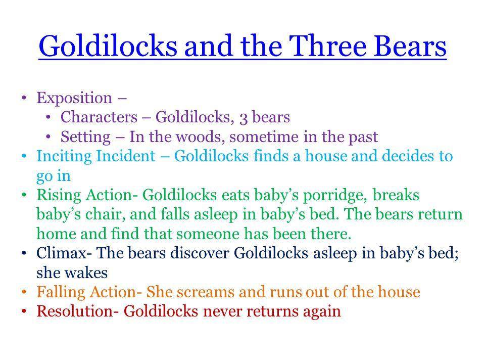Goldilocks and the Three Bears Exposition – Characters – Goldilocks, 3 bears Setting – In the woods, sometime in the past Inciting Incident – Goldiloc