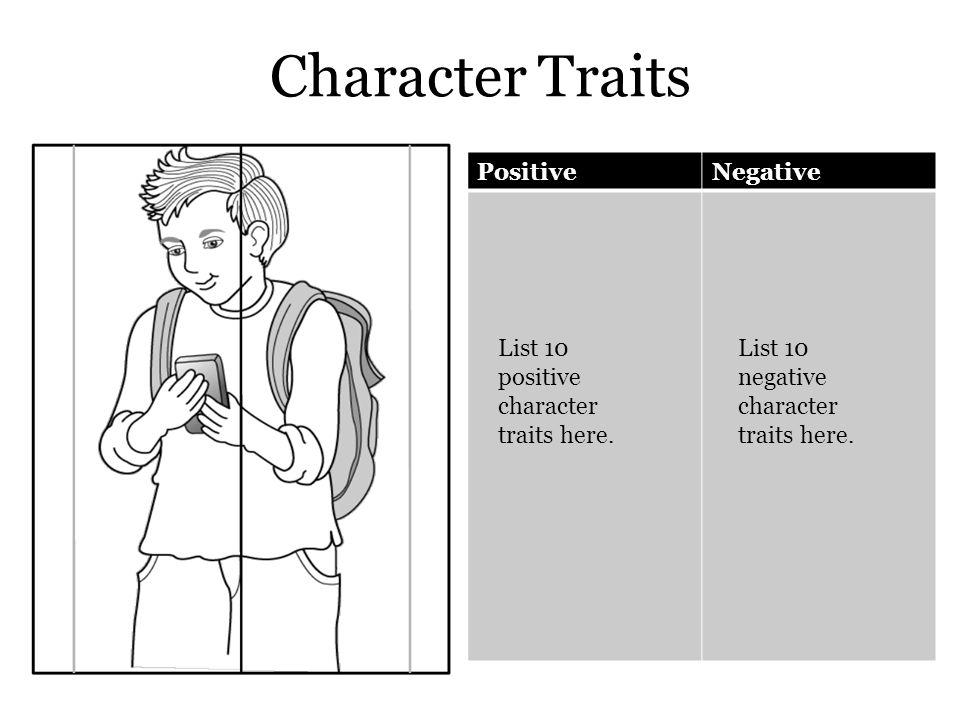 Character Traits PositiveNegative List 10 positive character traits here. List 10 negative character traits here.