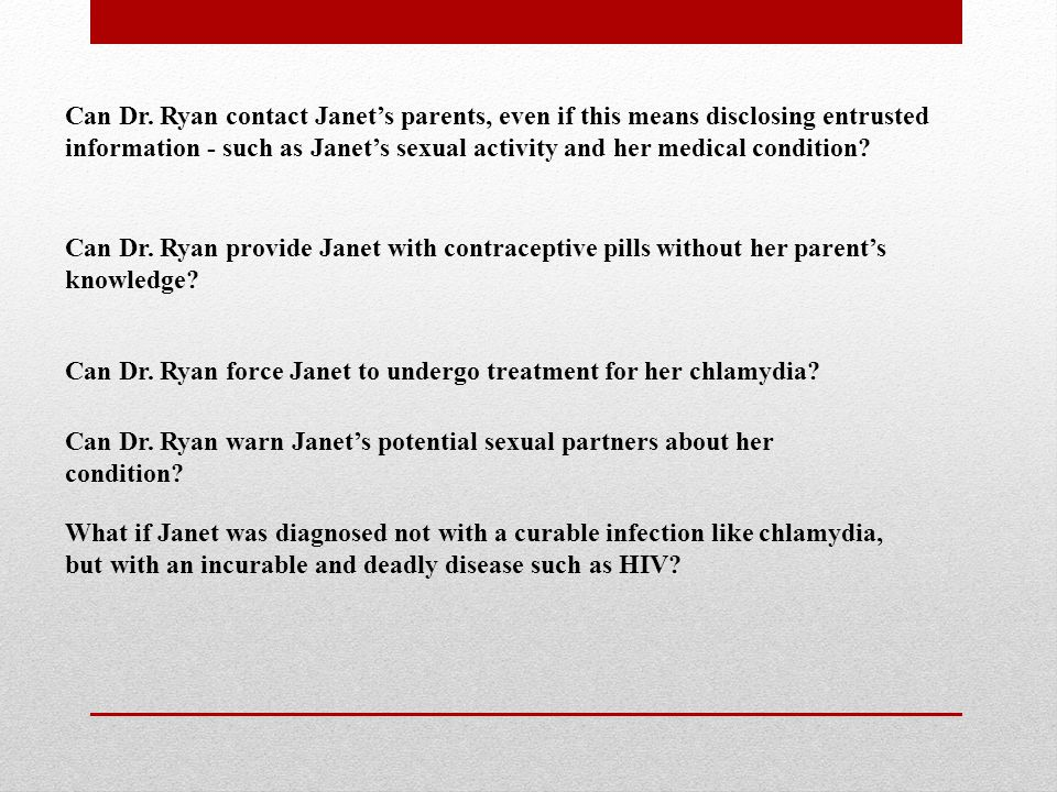 Can Dr. Ryan contact Janet's parents, even if this means disclosing entrusted information - such as Janet's sexual activity and her medical condition?