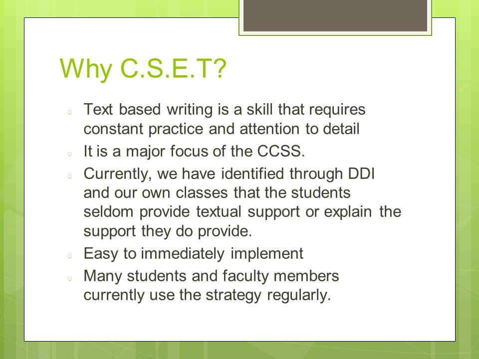 Why C.S.E.T.