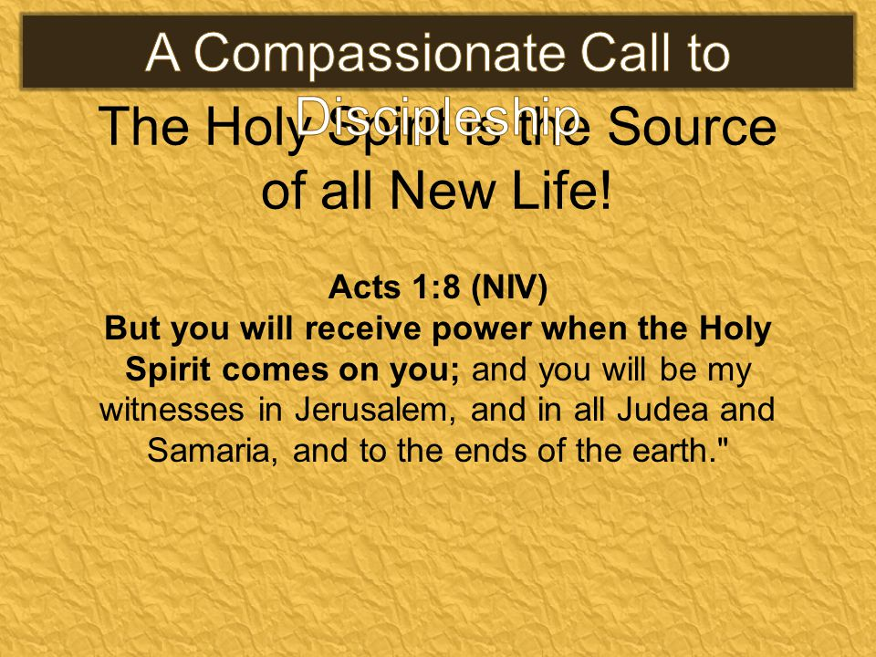 The Holy Spirit is the Source of all New Life! Acts 1:8 (NIV) But you will receive power when the Holy Spirit comes on you; and you will be my witness
