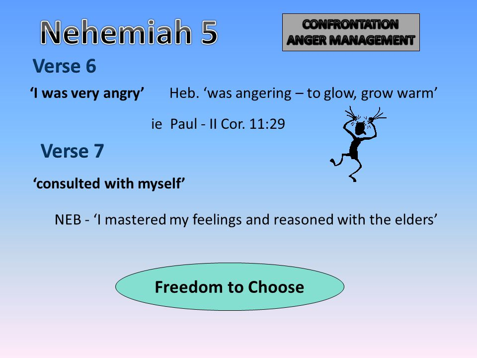 'consulted with myself' NEB - 'I mastered my feelings and reasoned with the elders' ie Paul - II Cor. 11:29 'I was very angry'Heb. 'was angering – to