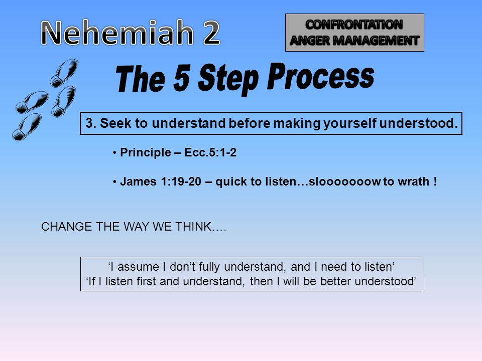3. Seek to understand before making yourself understood. Principle – Ecc.5:1-2 James 1:19-20 – quick to listen…slooooooow to wrath ! CHANGE THE WAY WE