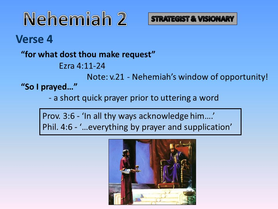 ALWAYS SPEAKS TO GOD BEFORE ANSWERS MAN Nehemiah 2:4-5 A short quick prayer of very few words.
