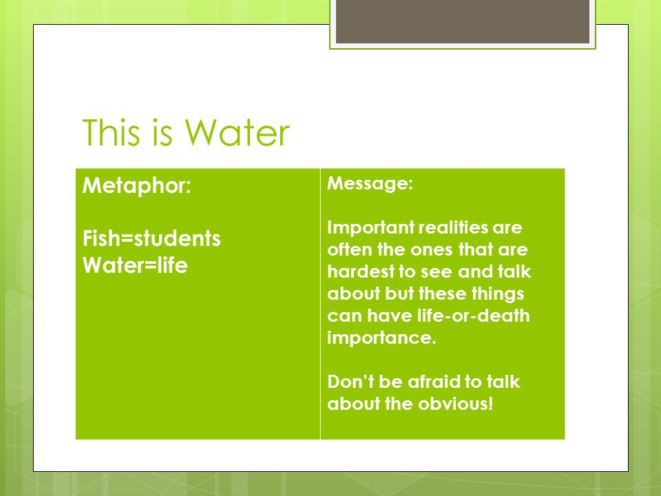 This is Water Metaphor: Fish=students Water=life Message: Important realities are often the ones that are hardest to see and talk about but these things can have life-or-death importance.