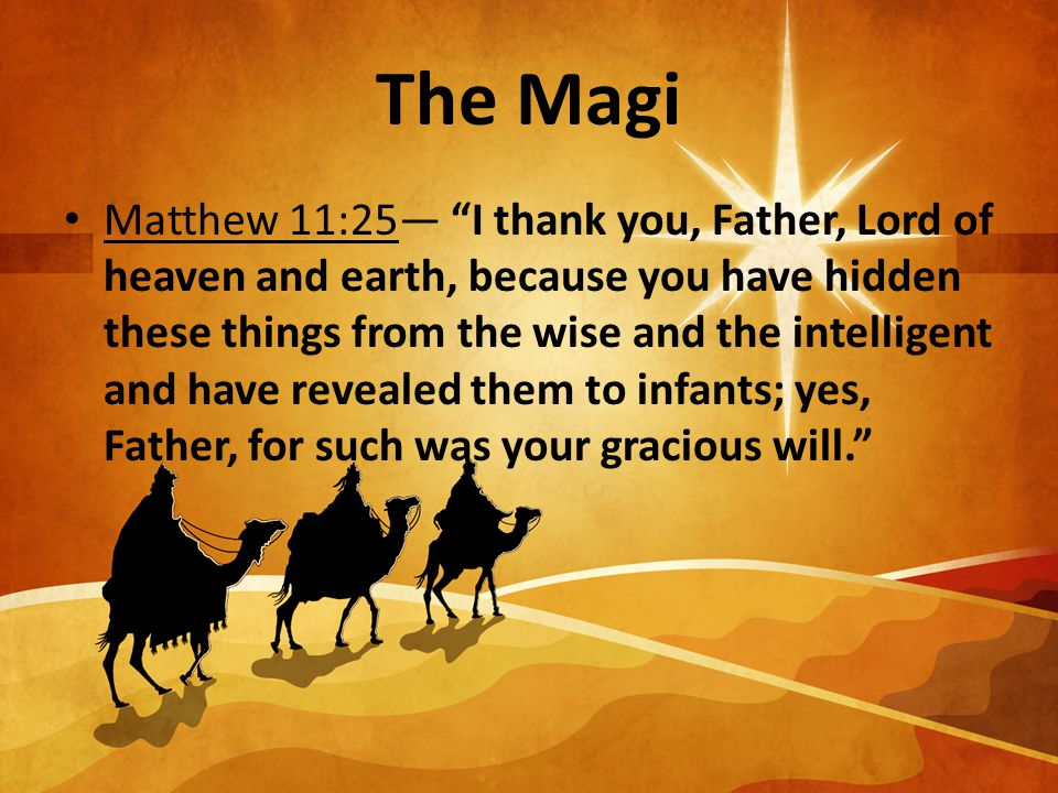 The Magi Matthew 11:25— I thank you, Father, Lord of heaven and earth, because you have hidden these things from the wise and the intelligent and have revealed them to infants; yes, Father, for such was your gracious will.