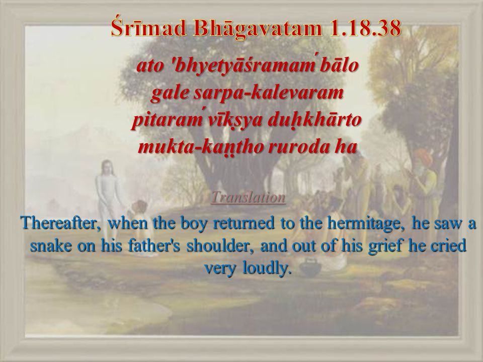 ato bhyetyāśramaḿ bālo gale sarpa-kalevaram pitaraḿ vīkṣya duḥkhārto mukta-kaṇṭho ruroda ha Translation Thereafter, when the boy returned to the hermitage, he saw a snake on his father s shoulder, and out of his grief he cried very loudly.