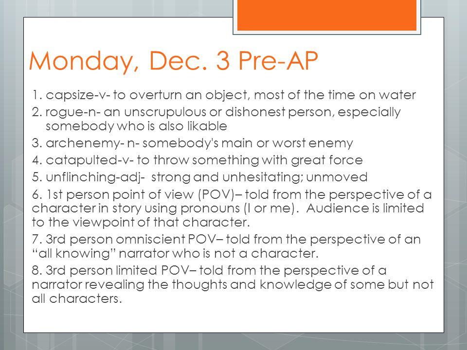 Tuesday, December 4 6.