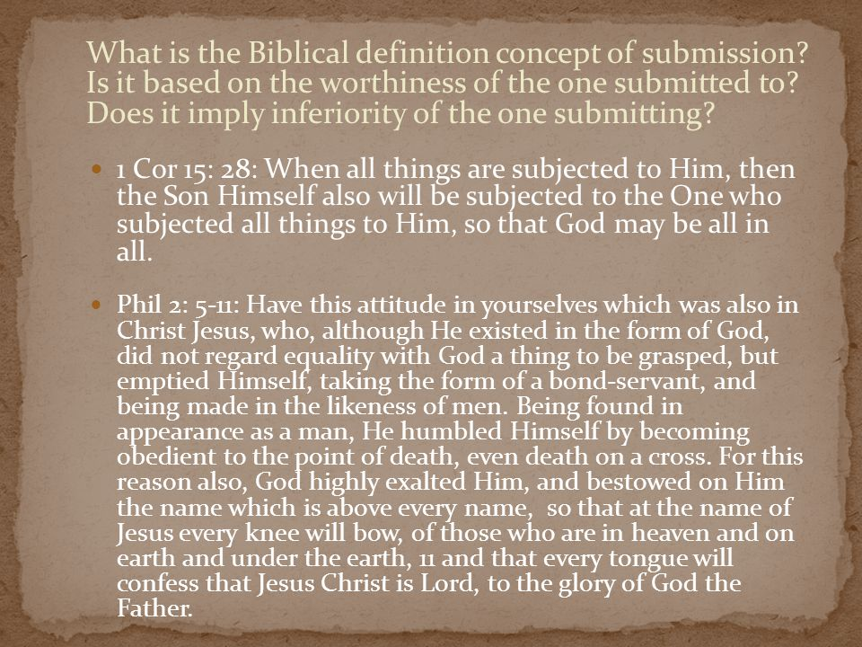 What is the Biblical definition concept of submission.