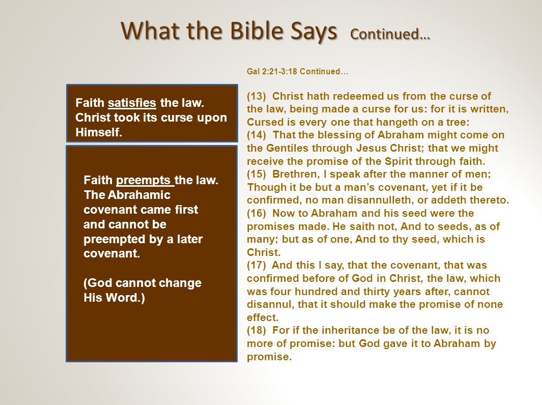 The Core Truths Relating the Old Covenant to the New Covenant.