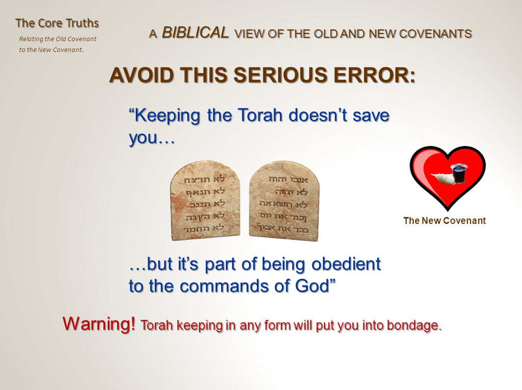 Relating the Old Covenant to the New Covenant.