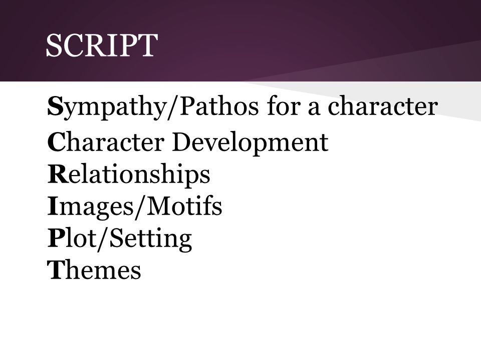 SCRIPT Sympathy/Pathos for a character Character Development Relationships Images/Motifs Plot/Setting Themes