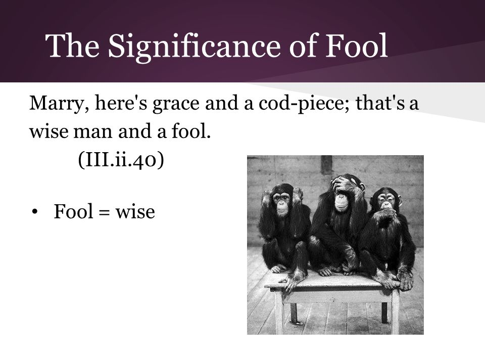 The Significance of Fool Marry, here s grace and a cod-piece; that s a wise man and a fool.