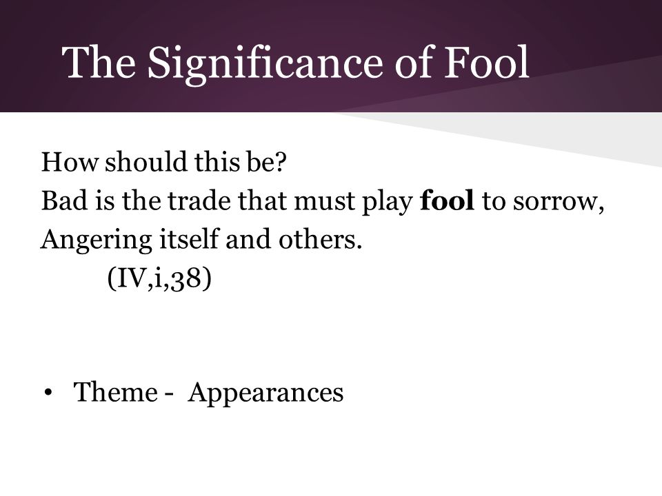 The Significance of Fool How should this be.