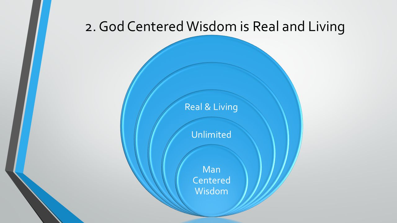 2. God Centered Wisdom is Real and Living Real & Living Unlimited Man Centered Wisdom