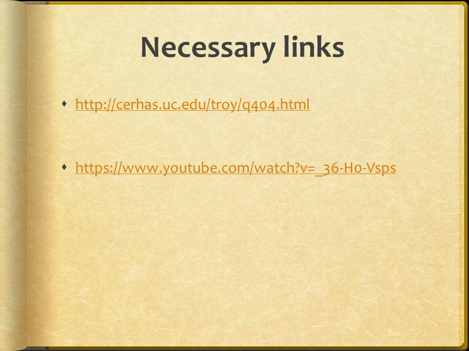 Necessary links  http://cerhas.uc.edu/troy/q404.html http://cerhas.uc.edu/troy/q404.html  https://www.youtube.com/watch?v=_36-H0-Vsps https://www.youtube.com/watch?v=_36-H0-Vsps
