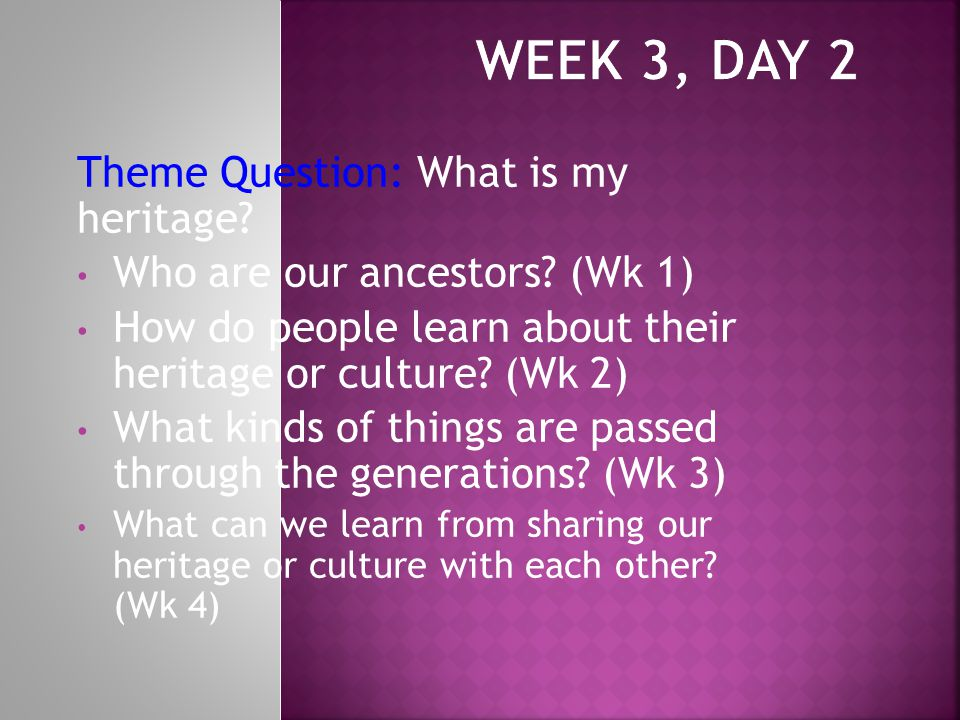 Theme Question: What is my heritage. Who are our ancestors.