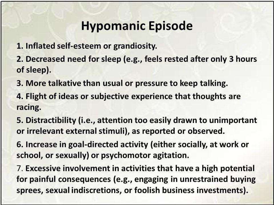 Hypomanic Episode 1. Inflated self-esteem or grandiosity.