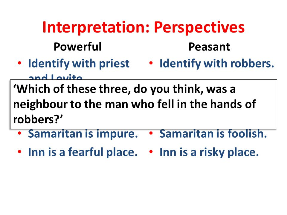 Interpretation: Perspectives Powerful Identify with priest and Levite. Decry robbers. Issue is purity. Samaritan is impure. Inn is a fearful place. Pe