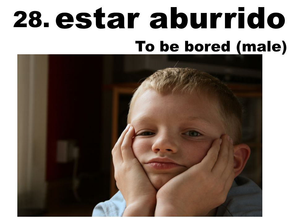 estar aburrido To be bored (male) 28.