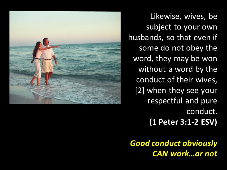 Likewise, wives, be subject to your own husbands, so that even if some do not obey the word, they may be won without a word by the conduct of their wi