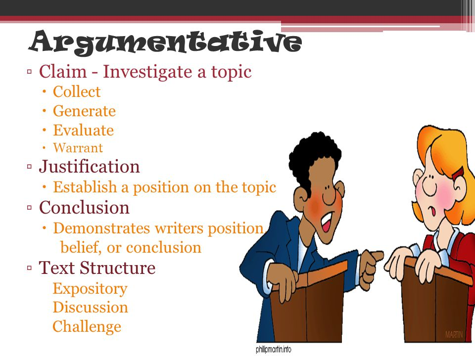 Argumentative ▫Claim - Investigate a topic  Collect  Generate  Evaluate  Warrant ▫Justification  Establish a position on the topic ▫Conclusion 