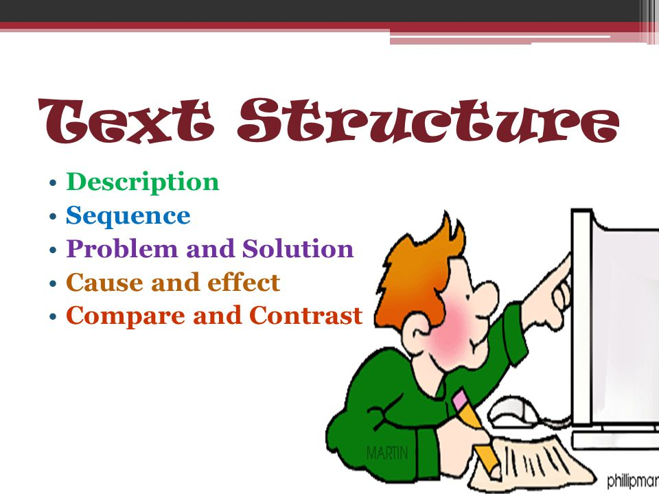 Text Structure Description Sequence Problem and Solution Cause and effect Compare and Contrast