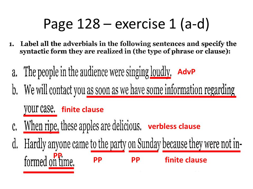Page 128 – exercise 1 (a-d) AdvP finite clause verbless clause PP finite clause PP