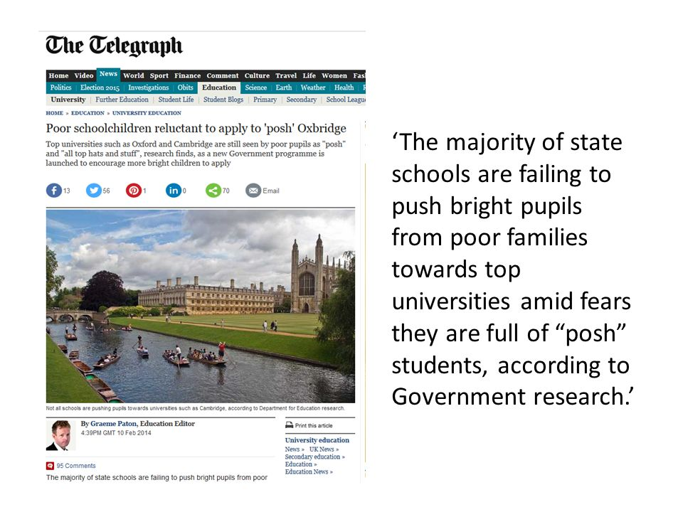 "'The majority of state schools are failing to push bright pupils from poor families towards top universities amid fears they are full of ""posh"" studen"
