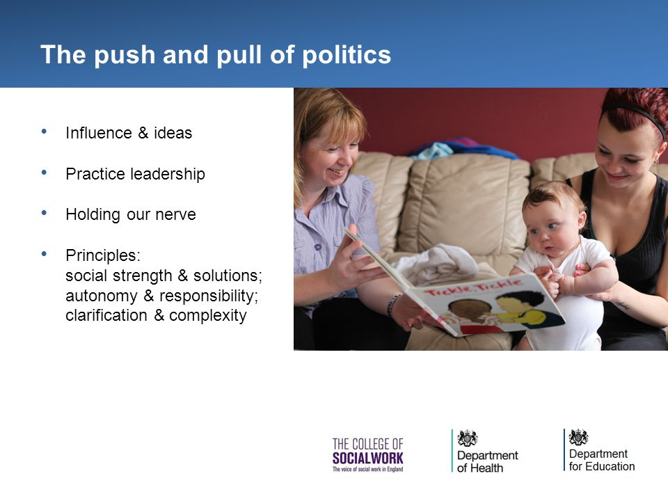 The push and pull of politics Influence & ideas Practice leadership Holding our nerve Principles: social strength & solutions; autonomy & responsibility; clarification & complexity