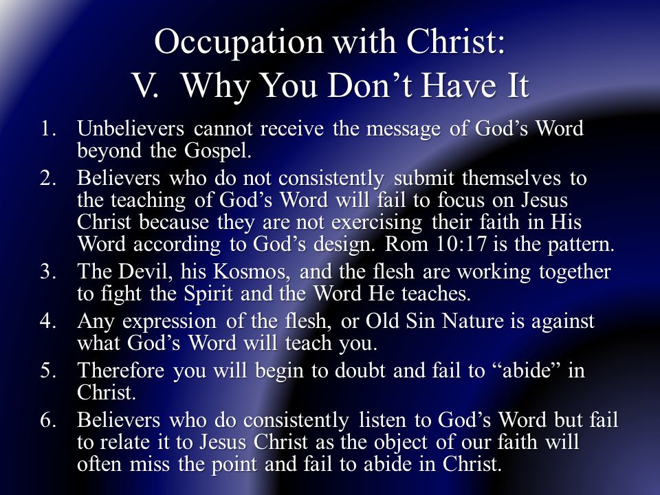 Occupation with Christ: V.