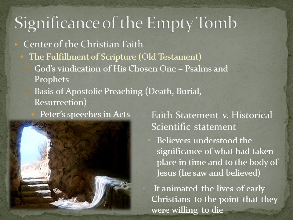 Center of the Christian Faith The Fulfillment of Scripture (Old Testament) God's vindication of His Chosen One – Psalms and Prophets Basis of Apostolic Preaching (Death, Burial, Resurrection) Peter's speeches in Acts Faith Statement v.
